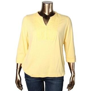 Karen Scott Womens Plus Pullover Top Embroidered Cotton - 0X