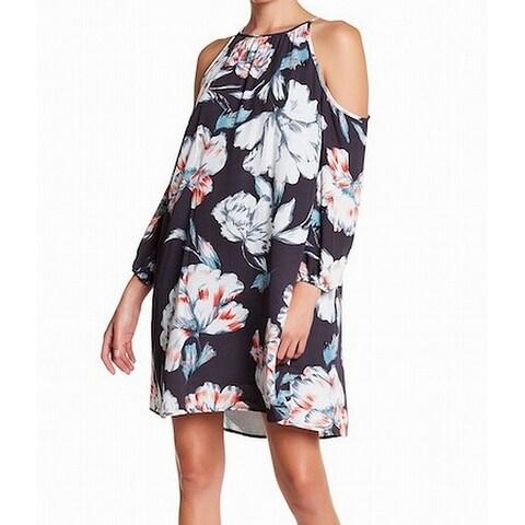 1. State NEW Gray Women Size Medium M Cold-Shoulder Floral Shift Dress