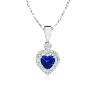 Angara Diamond Double Halo Blue Sapphire Heart Necklace Pendant - White