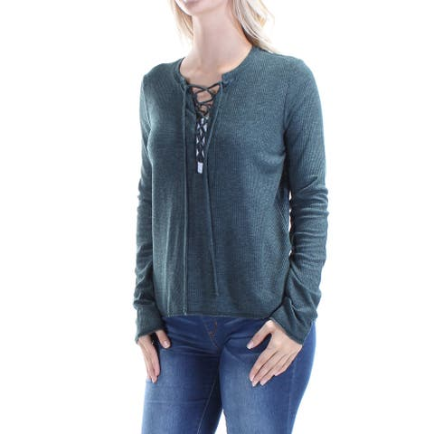 CHELSEA SKY Womens Green Tie Long Sleeve V Neck Evening Top Size S