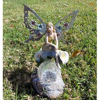 Green Garden Products PL028 Solar Angel Fairy Sitting on Calla Lilies Glass Crackle Light