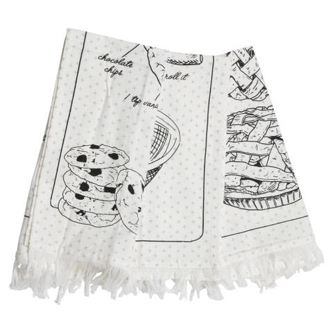 Foreside Home & Garden Set of 3 Baking Design 27 x 18 Inch Woven Kitchen Tea Towel with Hand Sewn Fringe