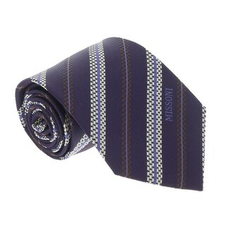 Missoni U5728 Regimental Purple/White 100% Silk Tie - 60-3