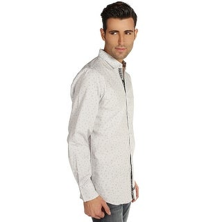 English Laundry Micro Honeycomb Print Shirt in Grey