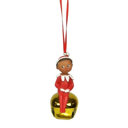 "3"" Elf on the Shelf Sitting Boy Gold Jingle Buddies Christmas Ornament - RED"