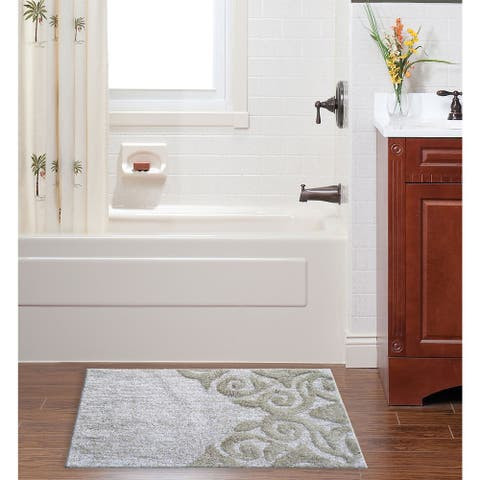 CHICOS HOME Bath Rug Damask Pattern in Beige & Ivory