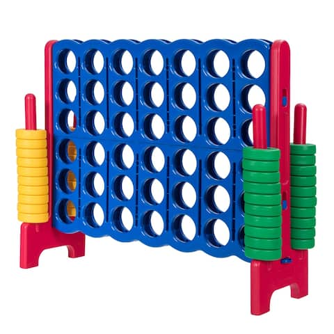 Gymax Jumbo 4-to-Score Game Set Giant 4 in A Row Kids Adults w/ 42