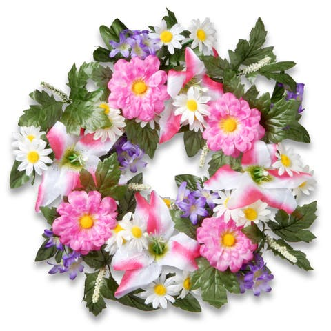 Daisy and Tiger Lily Artificial Floral Wreath, Pink 18-Inch