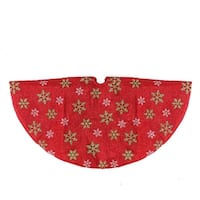 "20"" Decorative Red Metallic Green and Red Snowflake Mini Christmas Tree Skirt"