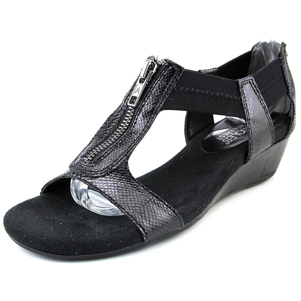 Aerosoles Serenyeti Women Open Toe Canvas Black Wedge Sandal