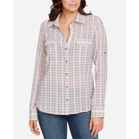 William Rast Pink Women's Size Large L Plaid Print Button Up Shirt