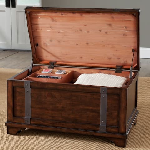 Aspen Skies Russet Brown and Metal Accents Storage Trunk