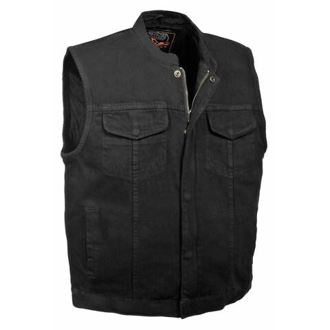 Mens Denim Concealed Snap Hidden Zipper MC Vest