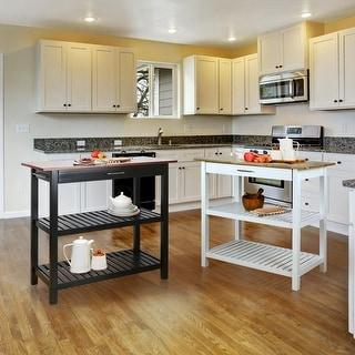 2-shelf Natural Solid Wood Top Kitchen Island