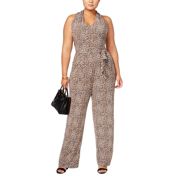 70e20428633c MICHAEL Michael Kors Womens Plus Jumpsuit Leopard Print Sleeveless