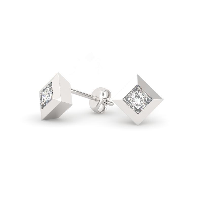 9ba71de00 Shop 1.25 CT.TW 14KT Gold Bezel Princess Cut Diamond Stud Earrings - On  Sale - Free Shipping Today - Overstock - 24100872