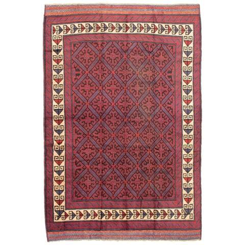 ECARPETGALLERY Hand-knotted Akhjah Dark Red Wool Rug - 6'2 x 9'3