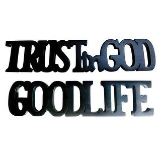Offex Handmade Solid Mahogany Wood Black Finish Trust In God Good Life Decorative Letters