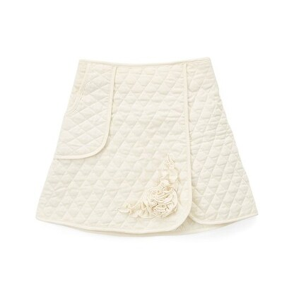 Girls Ivory Quilted Texture Flower Accent Single Pocket Skirt
