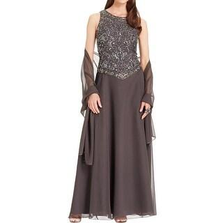 JKara Womens Evening Dress Beaded Popover
