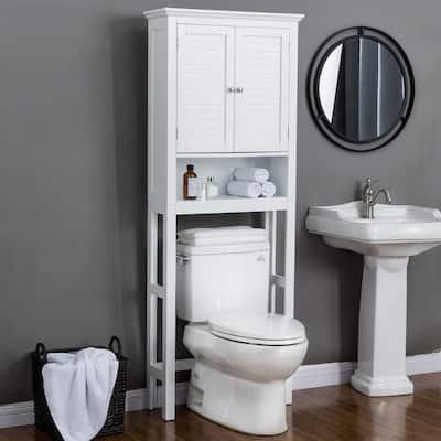 Glitzhome 5.7FT Modern White Bathroom Cabinet Spacesaver