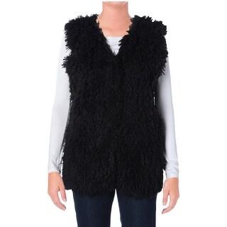 Studio M Womens Jeanette Vest Faux Fur Open Front
