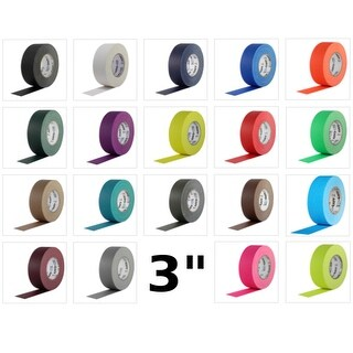 Pro Gaff Gaffers Tape 3 inch x 55 yard 16 Roll Case (Choose Color)