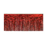Pack of 6 Red Hanging Metallic Fringe Drape Decorations 10'