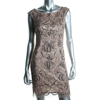 Adrianna Papell Womens Petites Beaded Sleeveless Cocktail Dress
