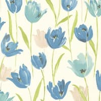 Brewster 347-20115 Finch Blue Hand Painted Tulips Wallpaper