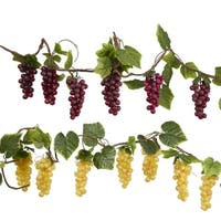 Pack of 4 Wine Red and Green Grapes Vine Decorative Christmas Garland - Unlit 6'