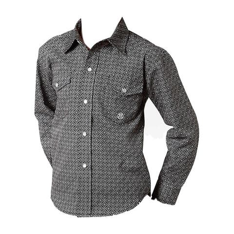 Roper Western Shirt Boys Long Sleeve Snap Black