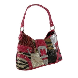 Animal Print Patchwork Hobo Bag with Rhinestone Buckle