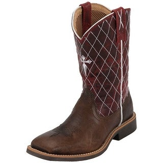 Twisted X Work Boots Boys Kids Leather Cowkid Chocolate Red YCW0005