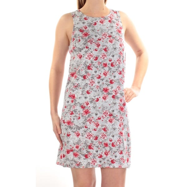 43870ad921 Shop Womens Gray Red Floral Sleeveless Mini Shift Dress Size  M - Free  Shipping On Orders Over  45 - Overstock - 21389754