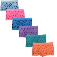 Women's 6 Pack Seamless Multi Stars Print Boyshorts Panites