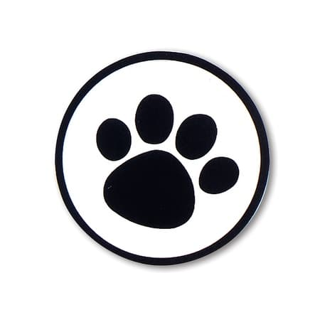 "Pack Of 500, 10.5"" Diameter Black Paw Print On Clear Round Seals Made In Usa Perfect For Pet Lovers"