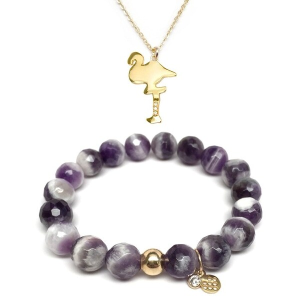 Purple Amethyst Bracelet & CZ Flamingo Gold Charm Necklace Set