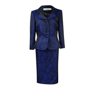 Tahari Women's Printed Lace Beaded Collar Skirt Suit - 6