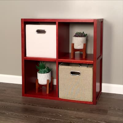 John Louis Home Solid Wood 4 Cube Storage Organizer Red Mahogany