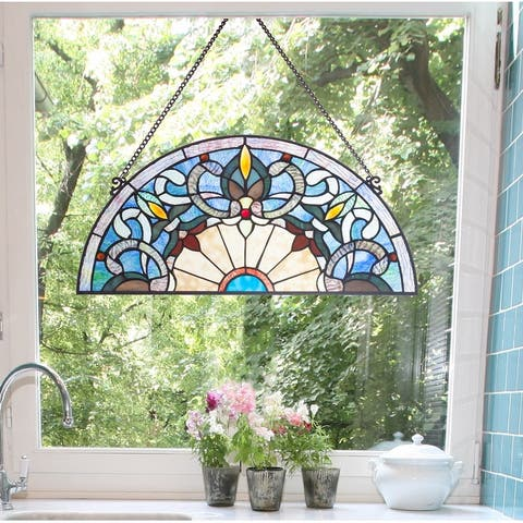 River of Goods Victorian Corista Half-Moon Stained Glass Window Panel
