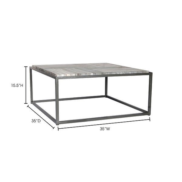 Aurelle Home Willow Marble Contemporary Coffee Table - 35 x 35 x 17 - 35 x 35 x 17