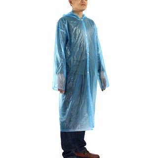 Blue One Size Travel Adult Disposable Thicken PVC Hooded Raincoat Rain Poncho