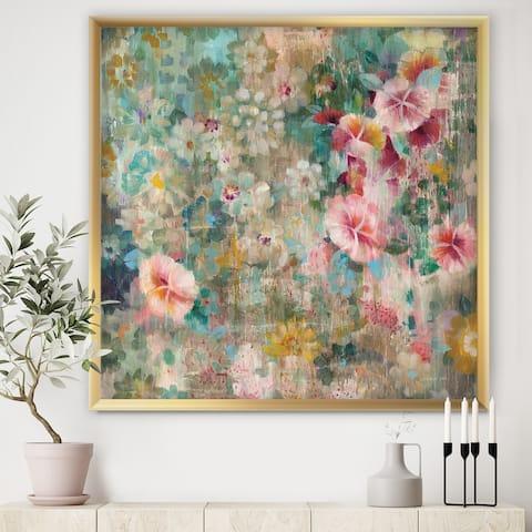 Designart 'Flower Shower III' Farmhouse Framed Art Print