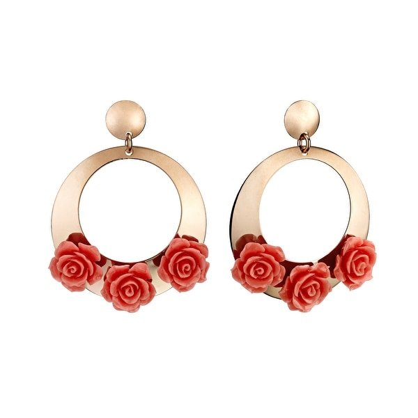 Zoccai 925 Pink Coral Rose Hoop Earrings in Rose Gold-Toned Sterling Silver