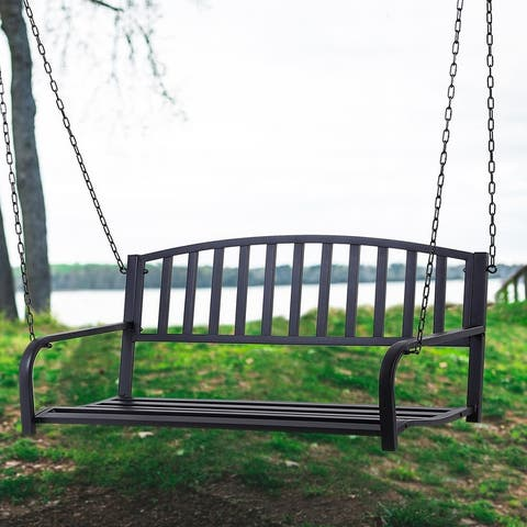 Outsunny Black 2-person Outdoor Porch Swing Bench