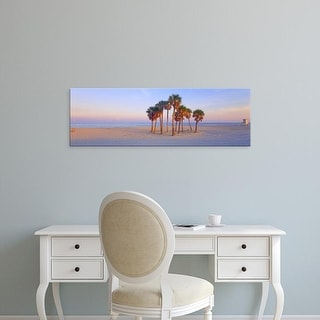 Easy Art Prints Panoramic Images's 'Palm trees on the beach, Florida, USA' Premium Canvas Art