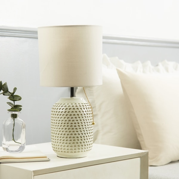 """Urban Shop Textured Ceramic Table Lamp, Taupe - 7""""W x 13""""H. Opens flyout."""