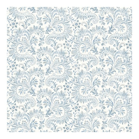 Sycamore Blue Paisley Floral Wallpaper - 20.5 x 396 x 0.025