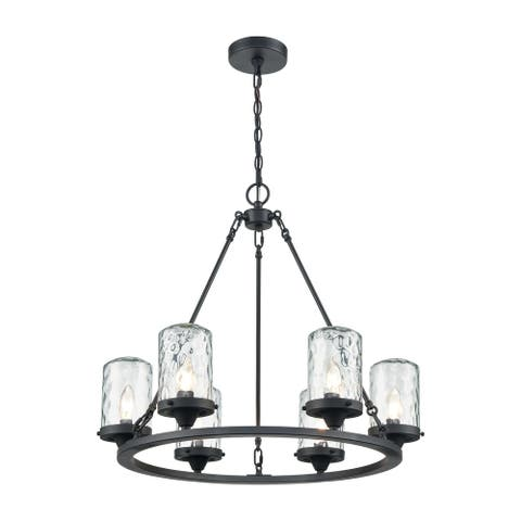 ELK Lighting Torch Charcoal Finish and Water Glass 6-Light Outdoor Chandelier
